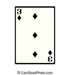 three of diamonds card icon, flat design