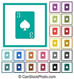 Three of spades card flat color icons with quadrant frames