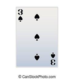 three of spades card icon, flat design