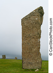 Three of the standing stones of Stenness, a neolithic henge...