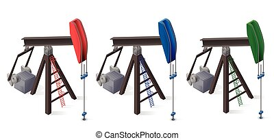 Three oil extraction pumps. Oil well industry production,...