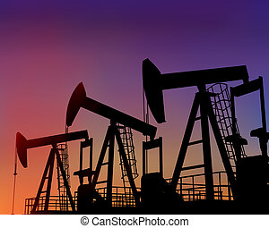 Three oil wells in the desert at dusk - Illustration of...