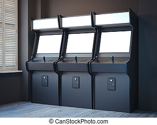Three old gaming machines in a bright room. 3d rendering