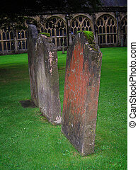 Three Old Gravestones - Three Graves in Old Churchyard