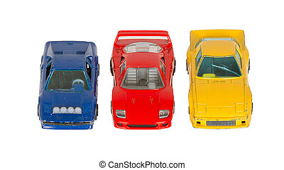 Three old toy cars