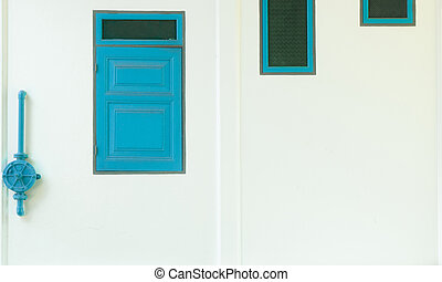 Three old windows with green water valve on white wall , vintage style
