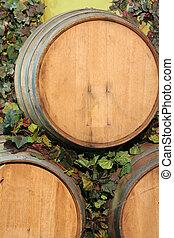 Wine barrels - three old wooden Wine barrels