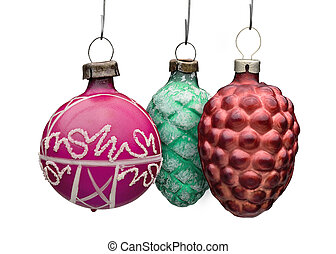 Three Old Xmass balls ornement against white background