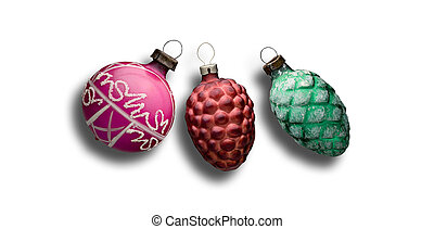 Three Old Xmass balls ornement on white background