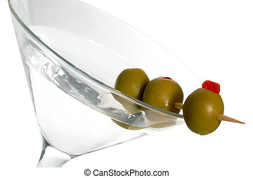 Three olive martini over white