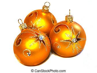 Three orange Christmas balls with golden pattern