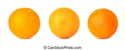 three orange fruit isolate on white background