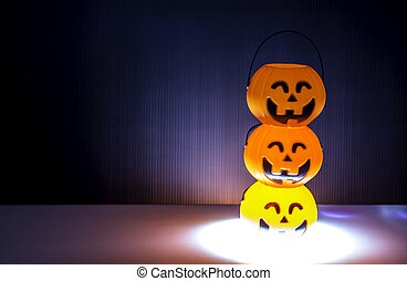 Three  orange Halloween Jack o Lantern