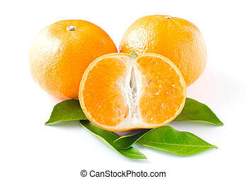 three orange isolated on white background