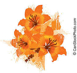 Three orange lily, vector grunge floral background