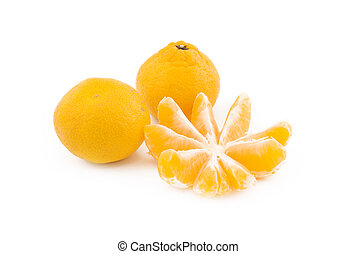 Three Orange mandarines on a white background