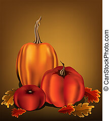 Three orange pumpkins with oak leaves on a warm golden background