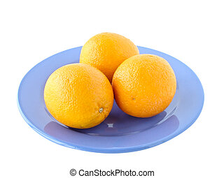 three oranges on a plate