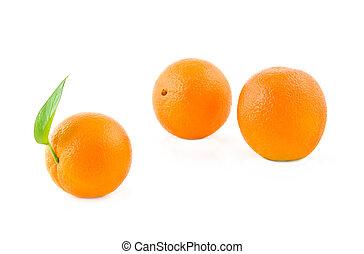 three oranges on a white background