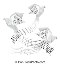 Three Origami doves with musical notes.