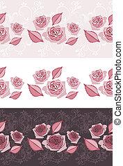 Three ornamental border with roses