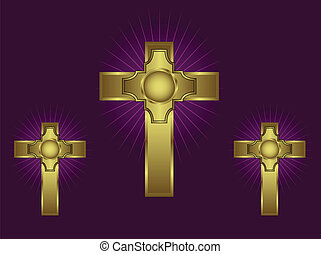Three ornate gold crosses on a purple background