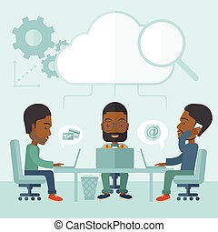 Three outstanding black employees discussing and sharing brilliant ideas, gathering information, preparing for their marketing plan presentation using their laptops. Teamwork concept. A Contemporary style with pastel palette, soft blue tinted background. Vector flat design illustration. Square ...