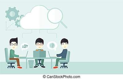 Three outstanding chinese employees discussing and sharing brilliant ideas, gathering information, preparing for their marketing plan presentation using their laptops. Teamwork concept. A Contemporary style with pastel palette, soft blue tinted background. Vector flat design illustration. Vertical ...