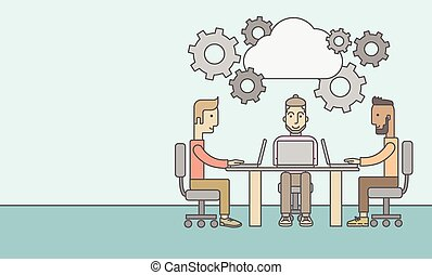 Three outstanding caucasian employees discussing and sharing brilliant ideas, gathering information, preparing for their marketing plan presentation using their laptops. Teamwork concept. A Contemporary style with pastel palette, soft blue tinted background. Vector flat design illustration. ...