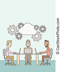 Three outstanding caucasian employees discussing and sharing brilliant ideas, gathering information, preparing for their marketing plan presentation using their laptops. Teamwork concept. A Contemporary style with pastel palette, soft blue tinted background. Vector flat design illustration. Vertical...