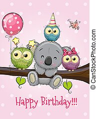 Three Owls and Koala on a branch with balloon and bonnets