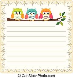 Three owls blank template