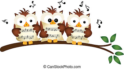 Three Owls Choir Singing - Scalable vectorial image...