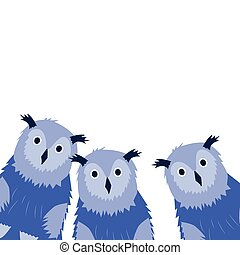 Three Owls on the white background. Hand drawn illustration.