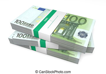 Three Packets of 100 Euro Notes with Bank Wrapper