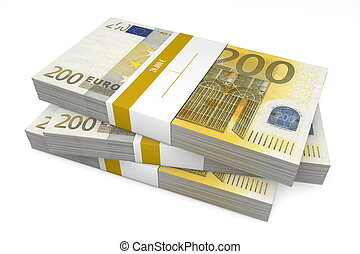 Three Packets of 200 Euro Notes with Bank Wrapper