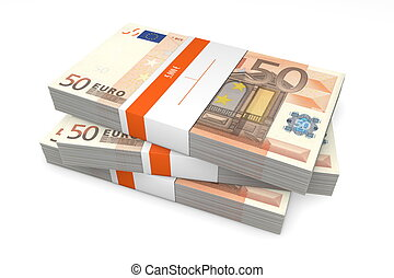 Three Packets of 50 Euro Notes with Bank Wrapper