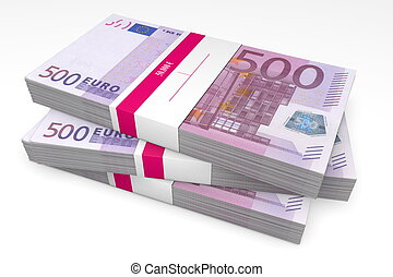 Three Packets of 500 Euro Notes with Bank Wrapper - three...