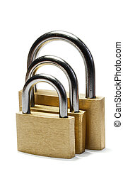 Three padlocks of different size isolated on white