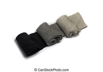 Three pair of socks isolated on a w