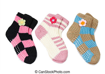 three pair of woolen socks