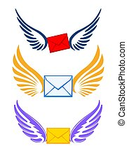 Three pairs colorful of wings with envelopes for your logo or design.
