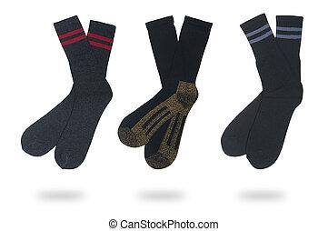 three pairs of socks isolated