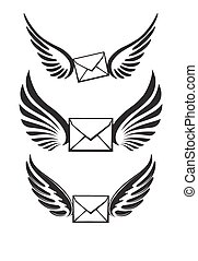 Three pairs of wings with envelopes for your logo or design.