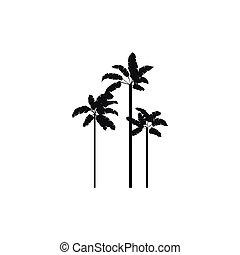 Three palm plant trees icon, simple style