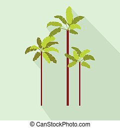 Three palm trees icon, flat style