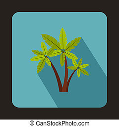 Three palm trees icon in flat style