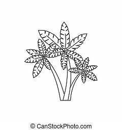 Three palm trees icon, outline style