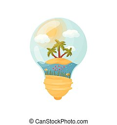 Three palm trees on the island in the middle of the sea. Figure inside the light bulb. Vector illustration