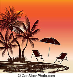 three palms and chair